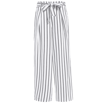 High Waist Striped Wide Leg Women's Pants - WHITE XL