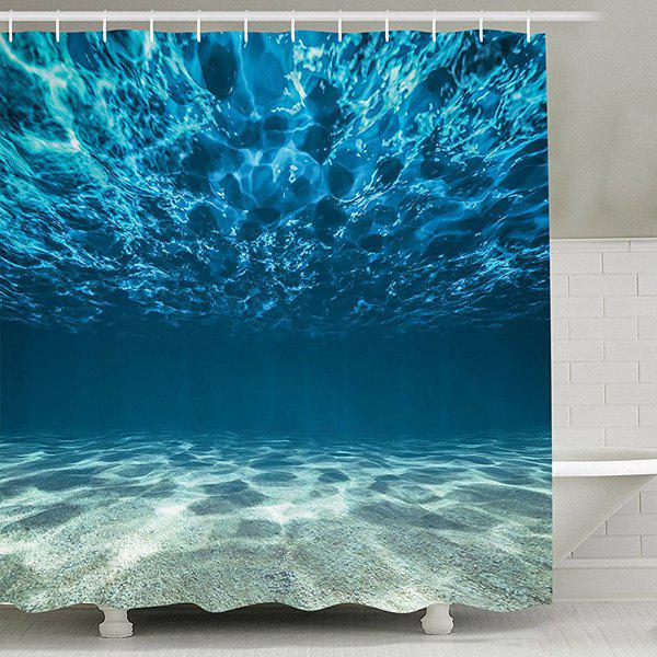 Sea World Print Waterproof Mildew Resistant Fabric Shower Curtain - LAKE BLUE 150CM*180CM