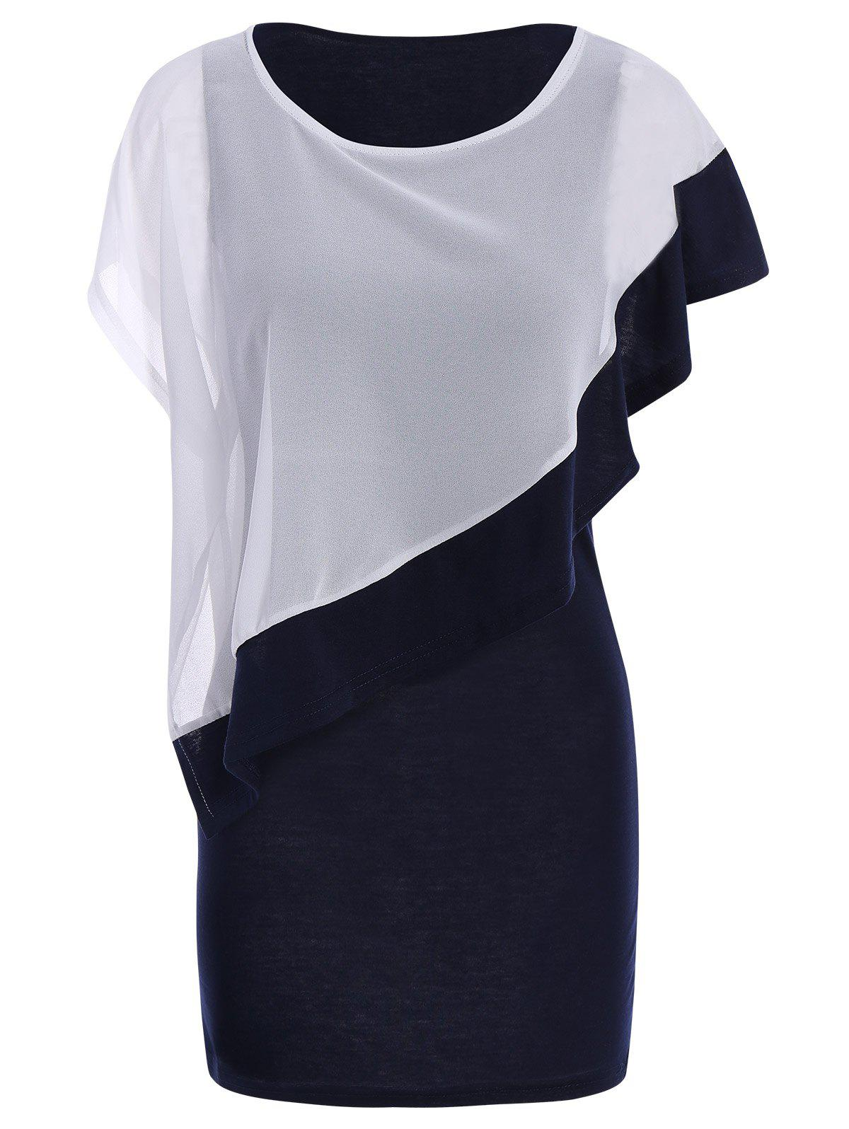 Refreshing Style Scoop Neck Short Sleeves Chiffon Color Block Women's Dress - COLORMIX L