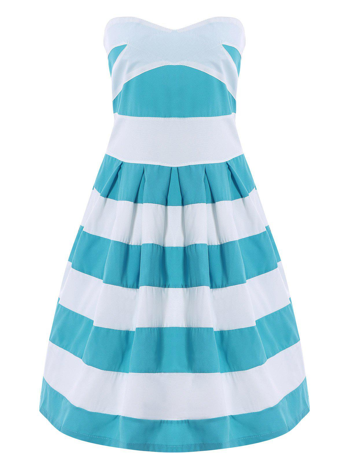 Strapless Color Block Striped Dress - BLUE/WHITE S