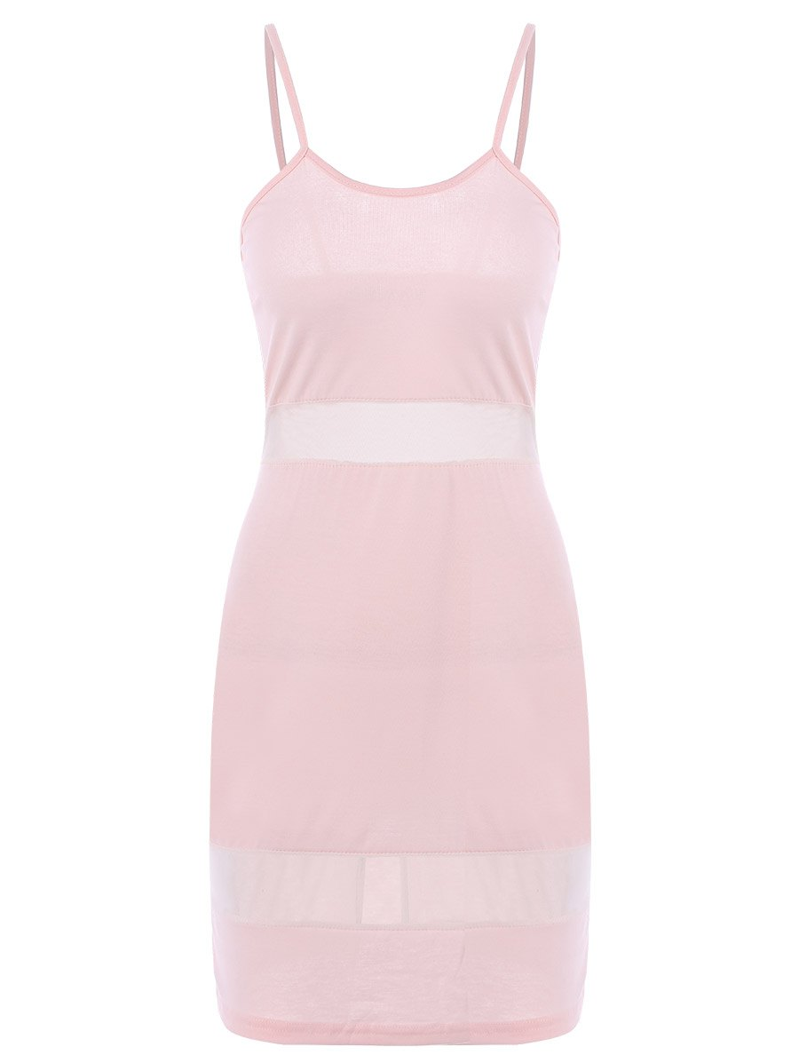 Sexy Candy Color Spaghetti Strap Dress For Women - PINK L