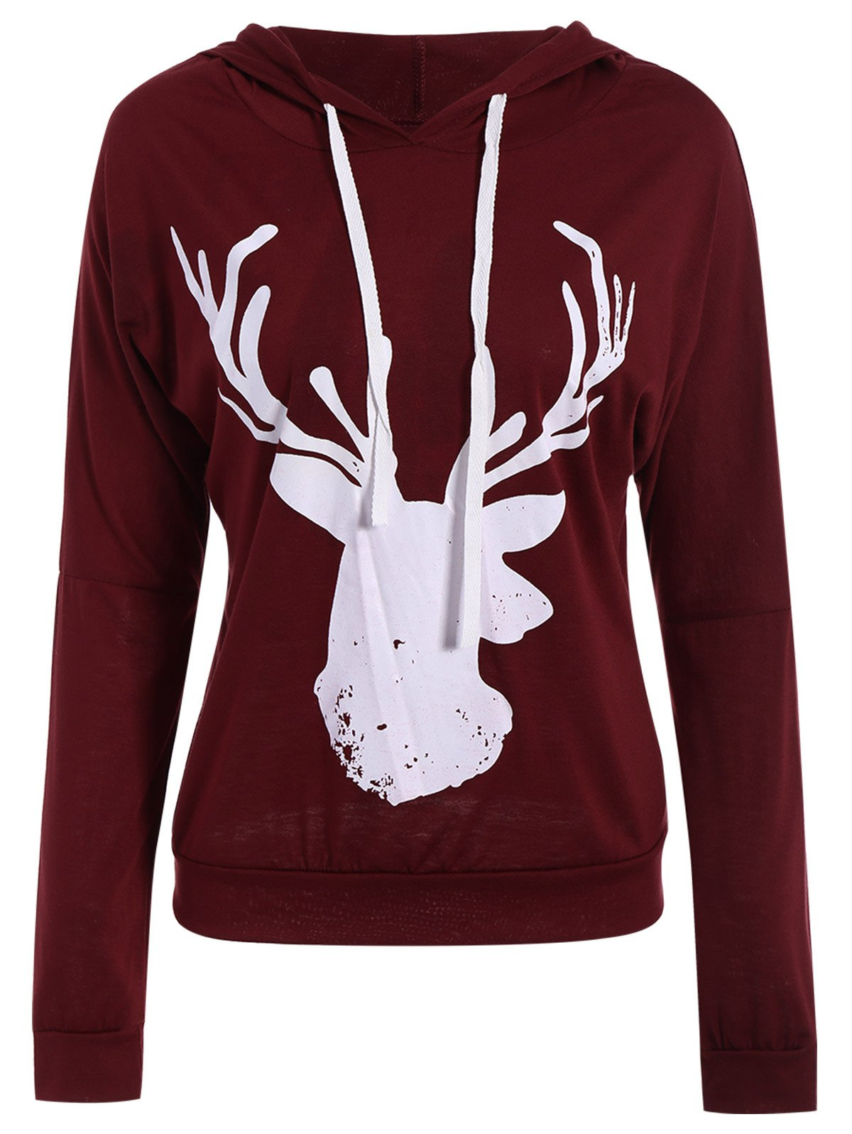 Christmas Women's Hooded Long Sleeve Deer Pattern Hoodie - WINE RED XL