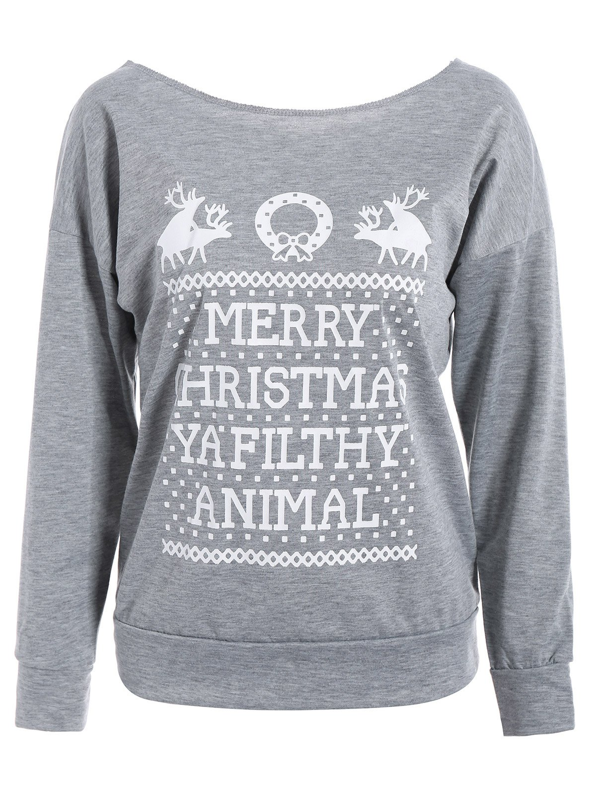 Skew Neck Merry Christmas Print Sweatshirt - GRAY S