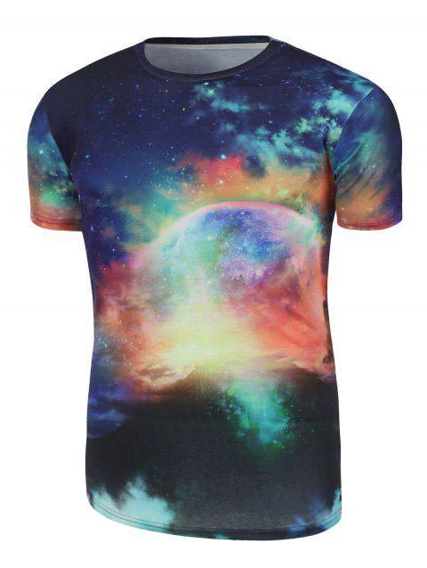 Crew Neck Galaxy T-Shirt - COLORMIX S