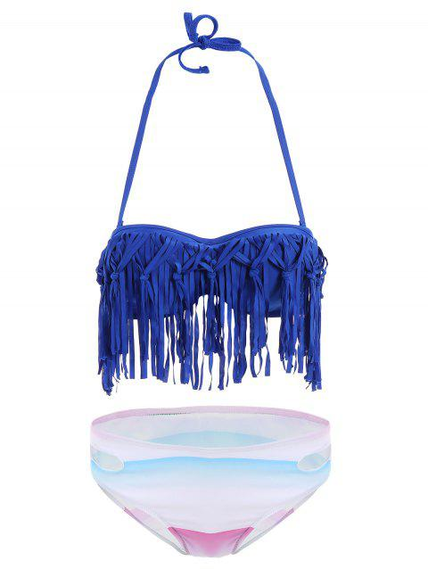Sexy Strapless Sleeveless Fringed Underwire Women's Bikini Set - BLUE XL