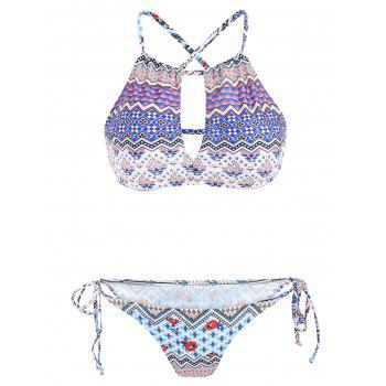 Women's Stylish Cut Out Color Block Print Two-Piece Swimwear - COLORMIX S