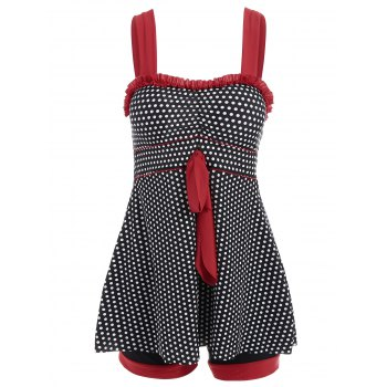 Chic Polka Dot Print Dress and Boxers Swimming Twinset For Women