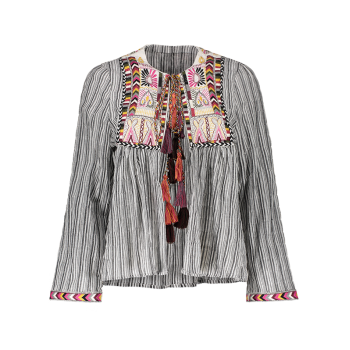 Front Tie Closure Embroidered Striped Blouse