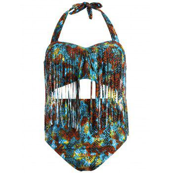 Plus Size Printed High-Waisted Fringe Bathing Suit - COLORMIX L