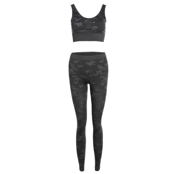 Camouflage Bra With Yoga Leggings - CAMOUFLAGE L