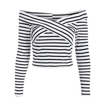 Off Shoulder Striped Front Criss T-Shirt - WHITE S