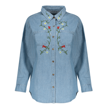 Floral Embroidered Jean Shirt