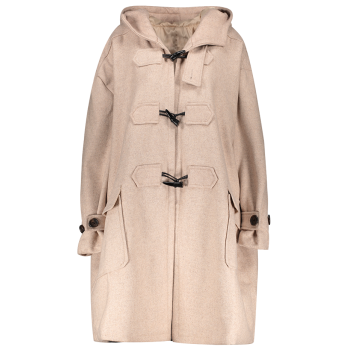 Hooded Duffel Walker Coat With Pockets - KHAKI M