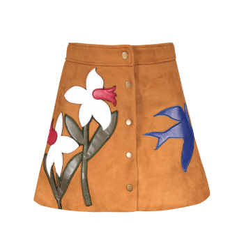 Floral Leather Patch Suede Skirt