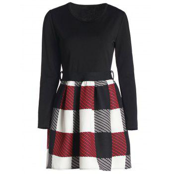 Long Sleeve Scoop Neck Plaid Dress For Women