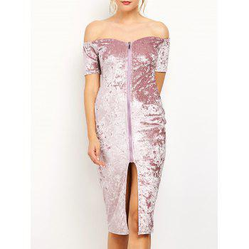 Front Zip Off The Shoulder Bodycon Velvet Dress