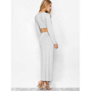High Slit Long Sleeve Two Piece Dress - LIGHT GRAY LIGHT GRAY