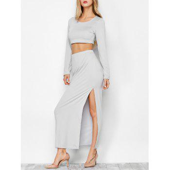High Slit Long Sleeve Two Piece Dress