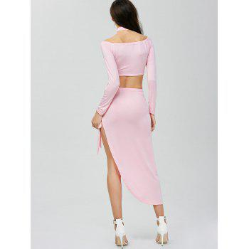 High Slit Two Piece Dress - PINK PINK