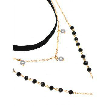 Faux Pearl Crucifix Butterfly Beaded Necklace - BLACK