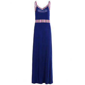 Stripe Panel Long Slip Evening Dress