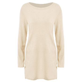 Zipped Tunic Jumper Dress - BEIGE BEIGE