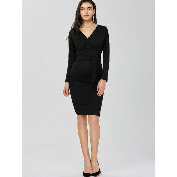V Neck Backless Long Sleeve Pencil Dress - BLACK ONE SIZE