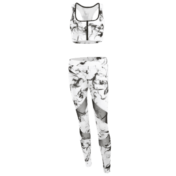 Abstract Print Sporty Bra with Mesh Patchwork Leggings - WHITE L