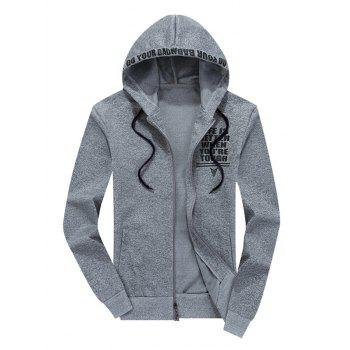 Zip Up Graphic Hoodie and Sweatpants - LIGHT GRAY M