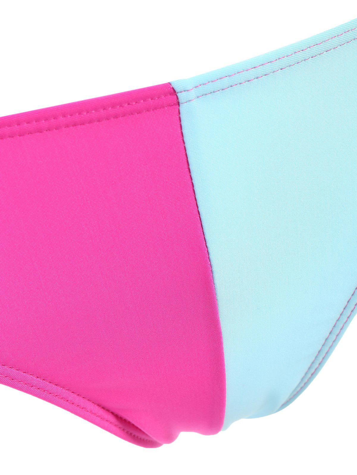 Chic Stretchy Color Block Briefs For Women - BLUE S