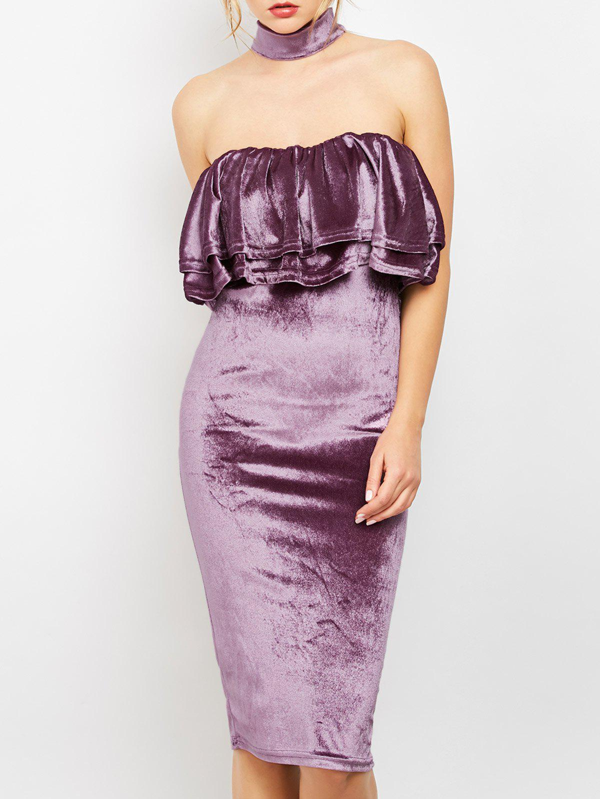 Robe en velours Body Dress - Pourpre M