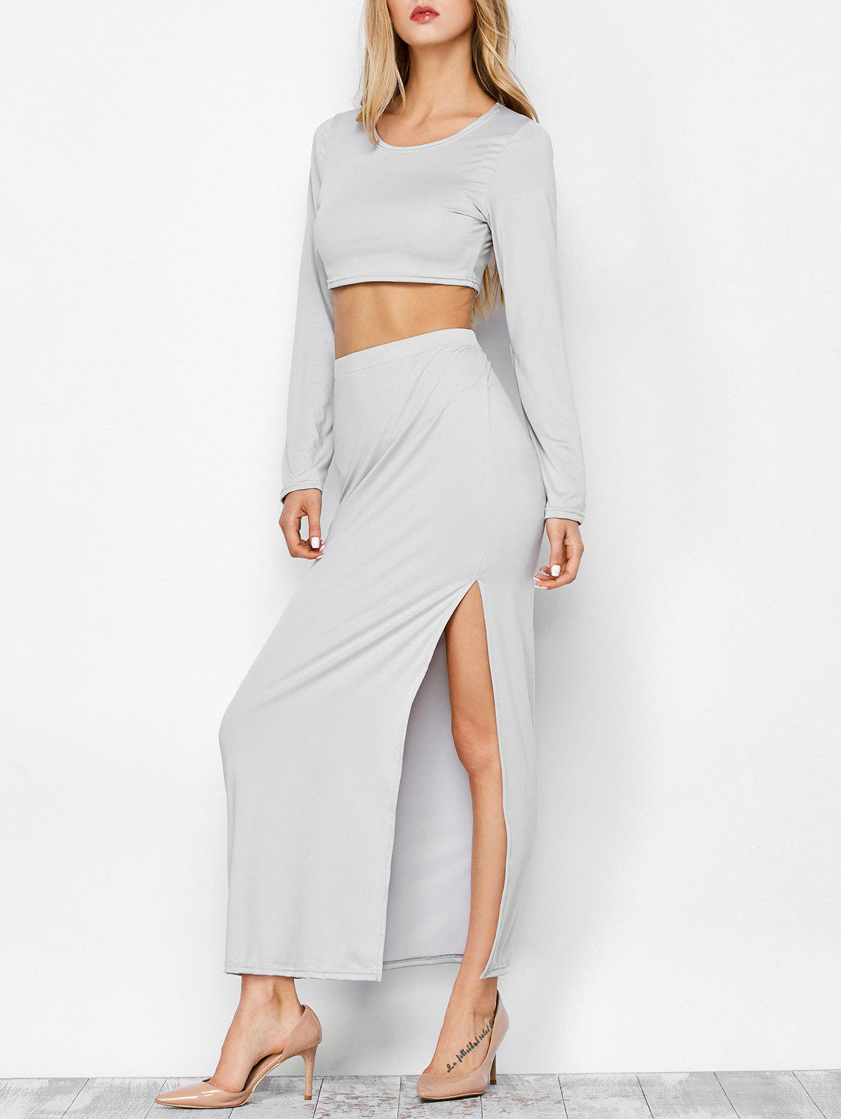 High Slit Long Sleeve Two Piece Dress - LIGHT GRAY M