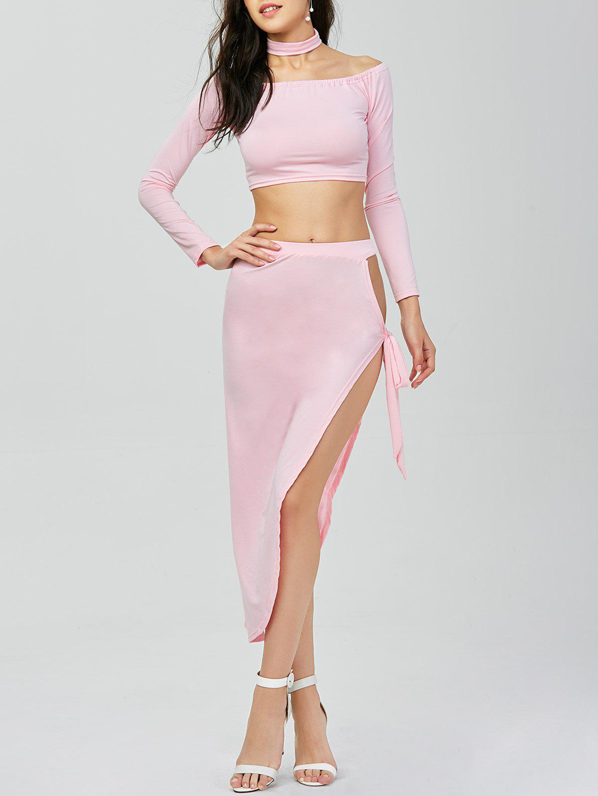 High Slit Two Piece Dress - PINK M