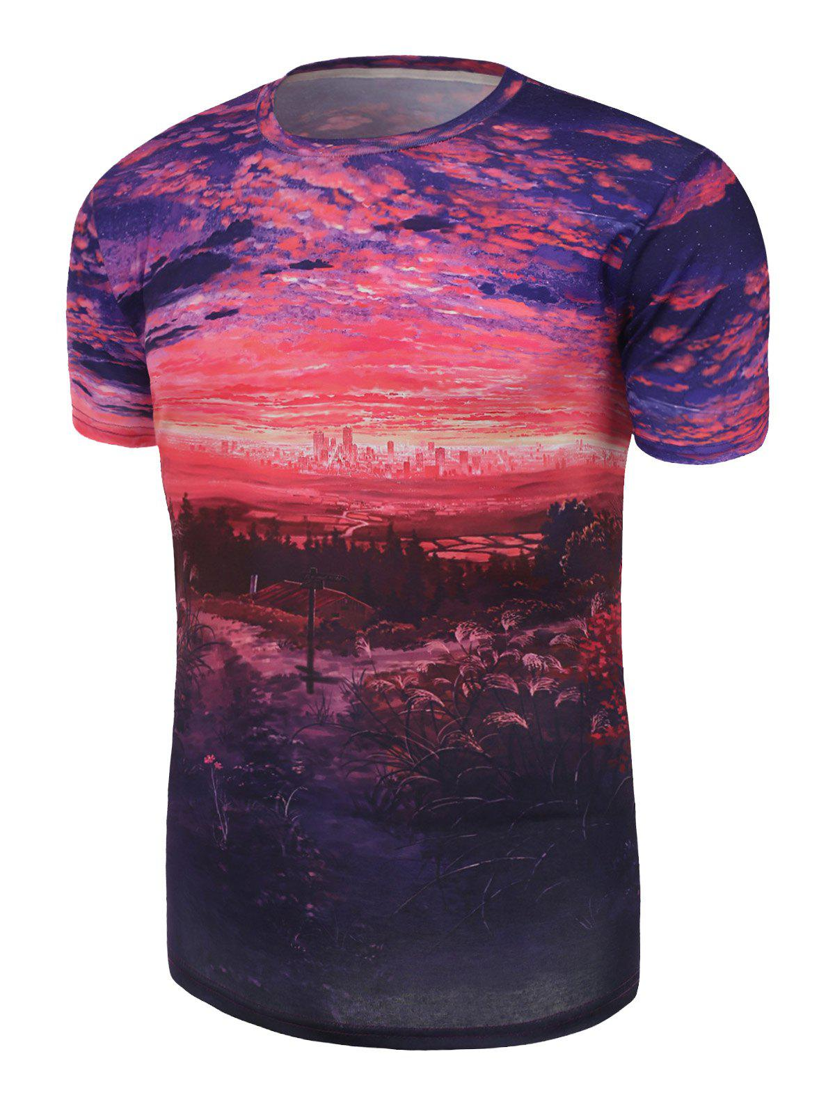 Short Sleeve Sunset Sky 3D Printed Tee - COLORMIX M