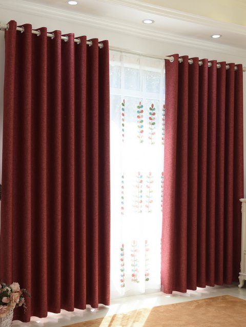 1Pcs Home Decor Shading Blackout Perforated Window Curtain - BRICK RED 100*270CM