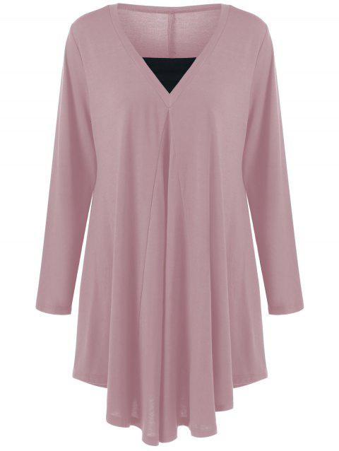 Long Sleeve Plus Size Asymmetrical Longline T-Shirt - PEONY PINK XL
