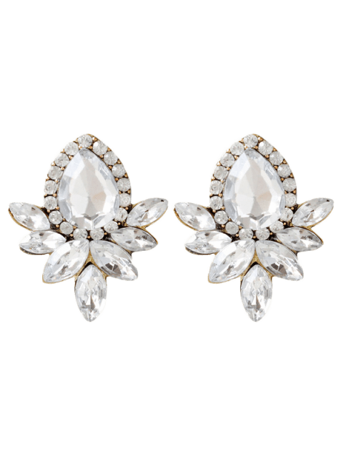 Artificial Crystal Rhinestone Water Drop Earrings - WHITE