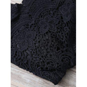 Fashionable Spaghetti Strap Lace Solid Color Sleeveless Tank Top For Women - BLACK L