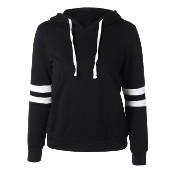 Long Sleeve Sports Color Block Hoodie - BLACK 2XL