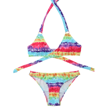 Tie Dyed Halter Neck Wrap Bikini Set - COLORMIX S