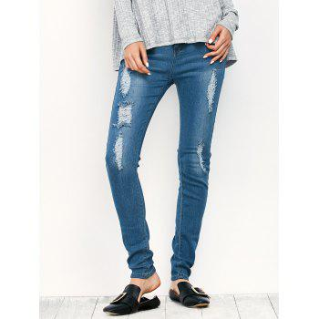 Midi Rise Distressed Pencil Jeans - BLUE XL