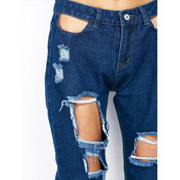 Ripped Pencil Jogger Jeans - BLUE L