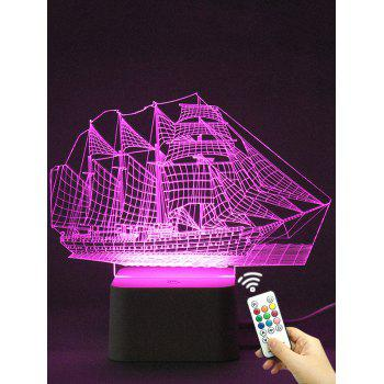 Colorful LED 3D Visual Ship Shape Touch Night Light With Remote Control
