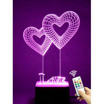 Colorful LED 3D Visual Heart Shape Touch Night Light With Remote Control - TRANSPARENT