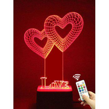 Colorful LED 3D Visual Heart Shape Touch Night Light With Remote Control