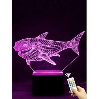 Colorful LED 3D Visual Shark Touch Night Light With Remote Control