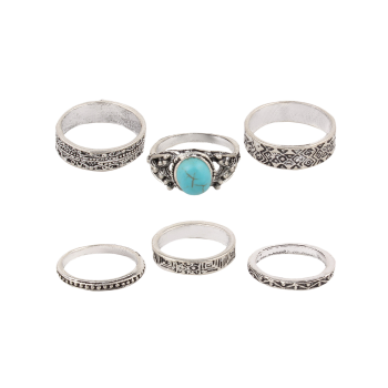Stylish Faux Turquoise Rings - SILVER SILVER