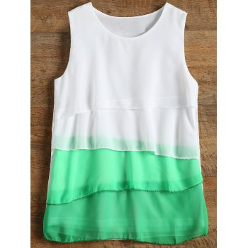Sleeveless Tiered Color Block Blouse - GREEN GREEN