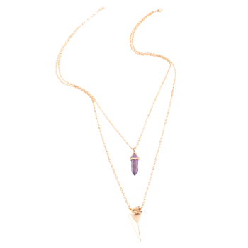 Punk Style Faux Amethyst Triangle Necklace - GOLDEN