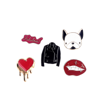 Dog Heart Jacket Lip Letters Brooch Set